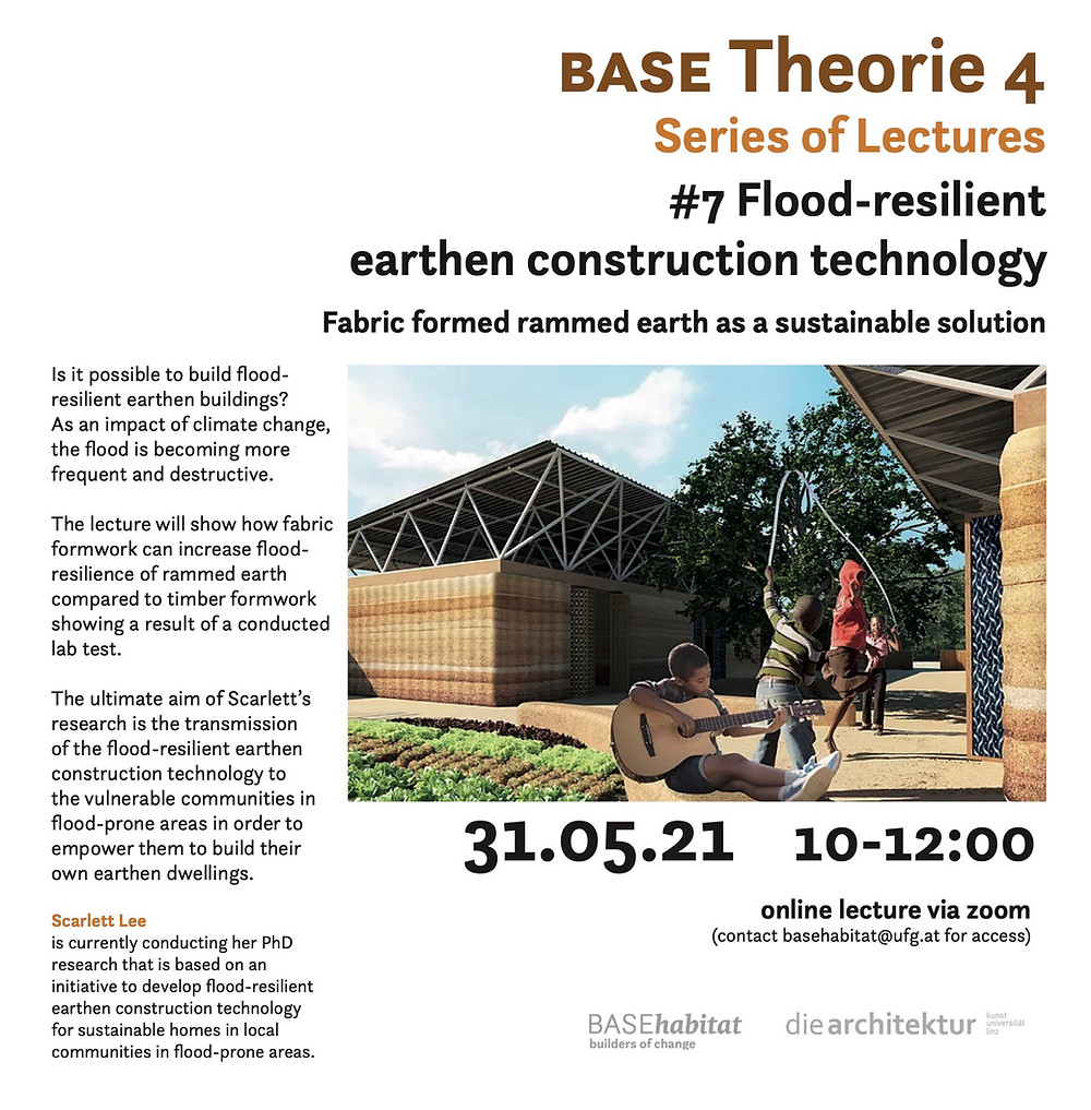 Flood-resilient Earthen Construction Technology, Fabric Formed rammed earth, Fabric formwork, Senegal Elementary School, Earth architecture, Weave, BASE Habitat lecture, the University of Art and Design Linz, Austria