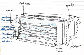 Sketch of fabric formed rammed earth  prototype
