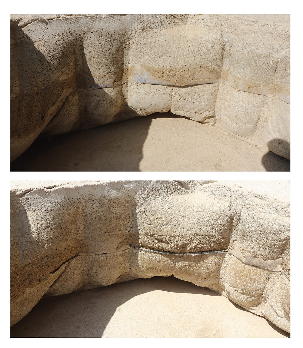 Erosion of rammed earth wall, fabric formed rammed earth doghouse, fabric formwork