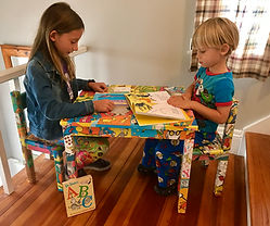 storytime crafts, chilren's furniture, handmade crafts, decoupage, children reading