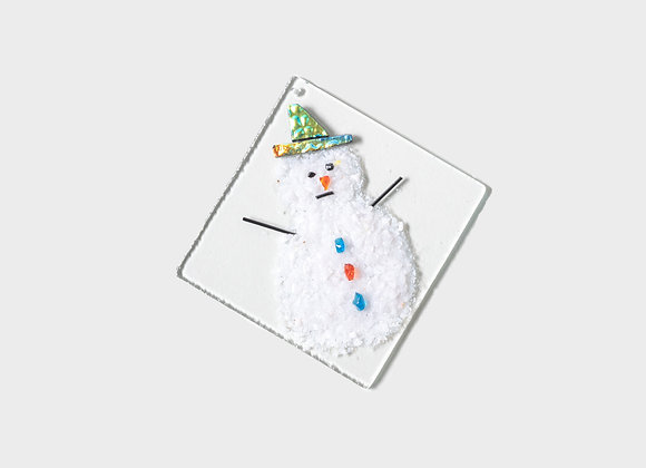 "3"" Winter Snowman Party Hats Ornament - Green Yellow"