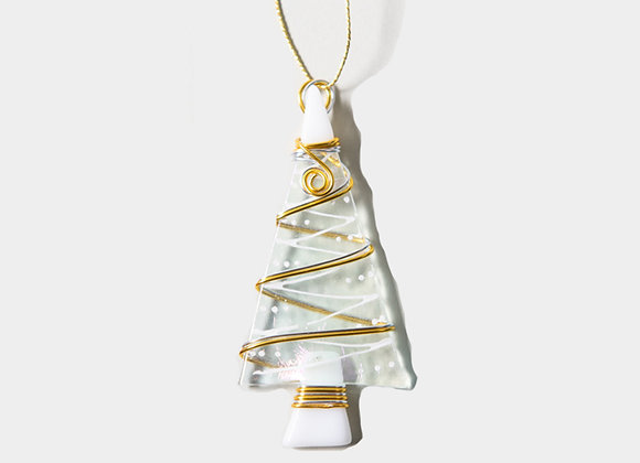 """3""""  Clear White Christmas Trees Ornament"""