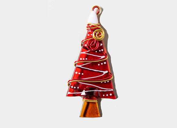 "3""  Red Christmas Trees Ornament"