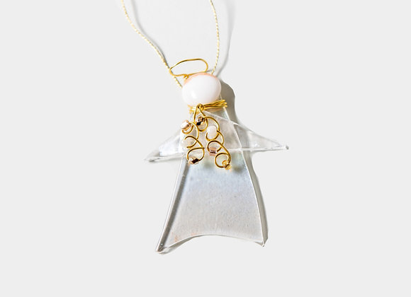 """3"""" Winter Clear Gold Angel Ornament"""