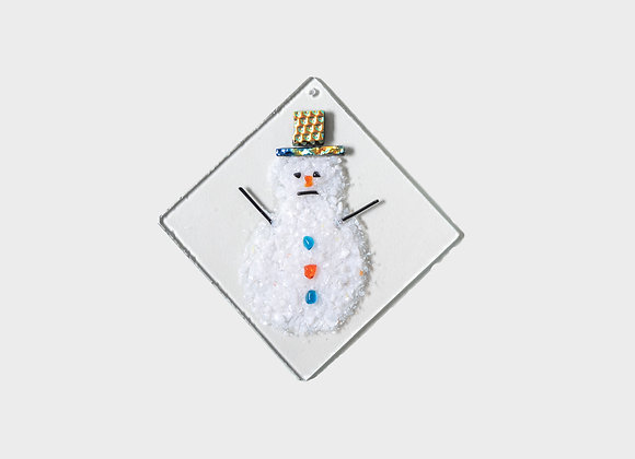 "3"" Winter Snowman Party Hats Ornament - Blue Orange"