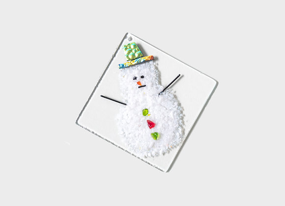 "3"" Winter Snowman Party Hats Ornament - Green Blue Yellow"