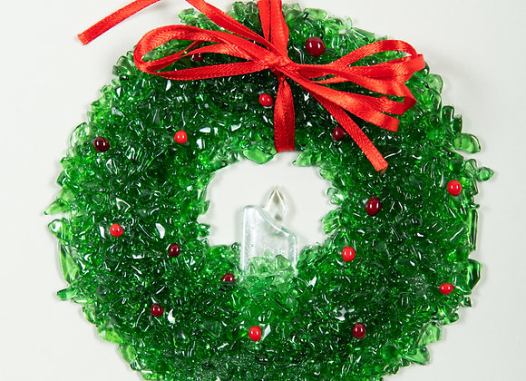 "6"" Diameter Christmas Candle Wreath"