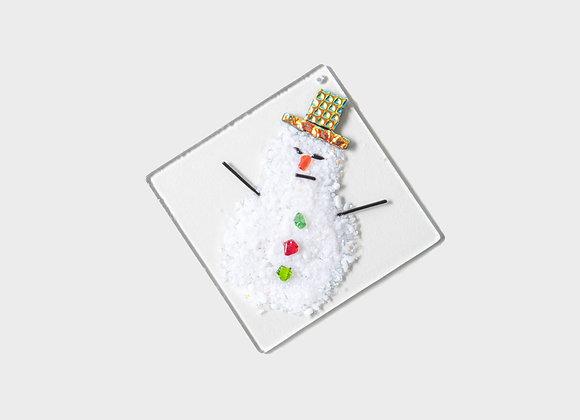 "3"" Winter Snowman Party Hats Ornament - Yellow Orange"
