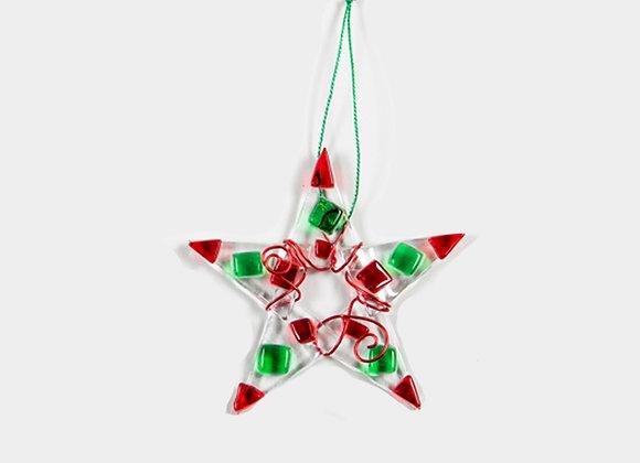 "3"" Diameter Red & Green Christmas Star"