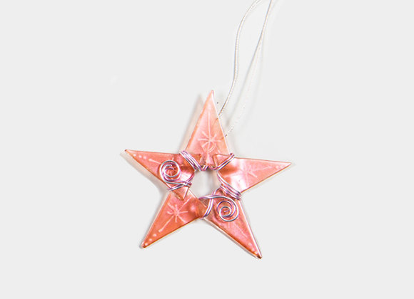 "3"" Diameter Pink Glossy Christmas Star"