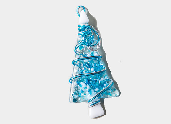 "3""  Blue Christmas Trees Ornament"