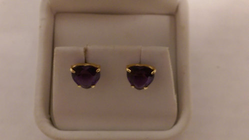 Heart Amethyst Earrings