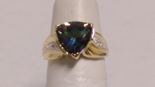14k Mystic Topaz Diamond Ring