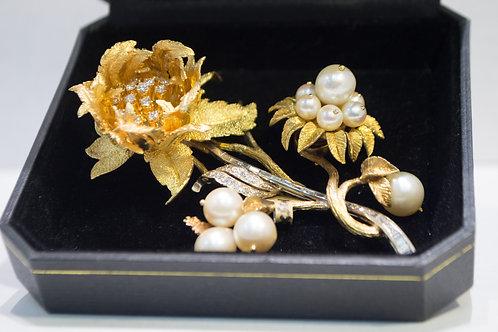 1 CTW Diamond Pearl Flower enhancer