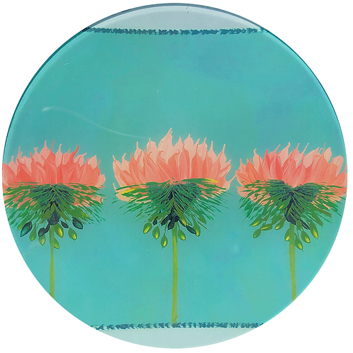 Three Pinks - Round Glass 6 x 6