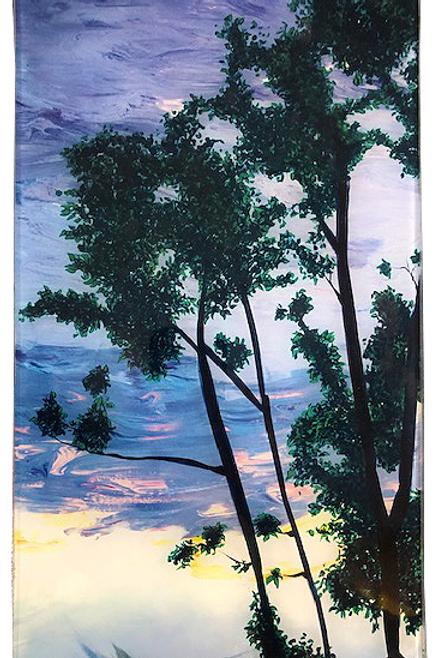 Sunset Tree - Rectangle Glass  14 x 8