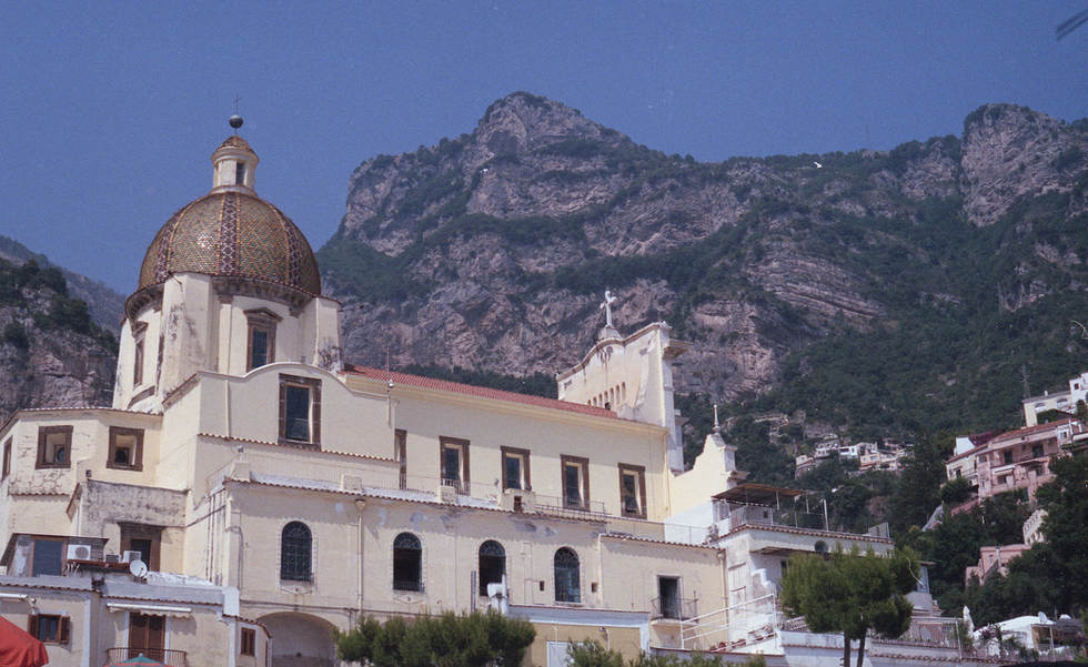 positano italy mountains church beach film 35mm ruby ryan photo photography photograph