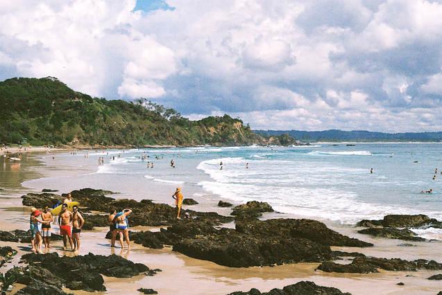 byron bay beach surf retro cloud wategos bay rocks surfing film landscape 35mm ruby ryan photo photography photograph