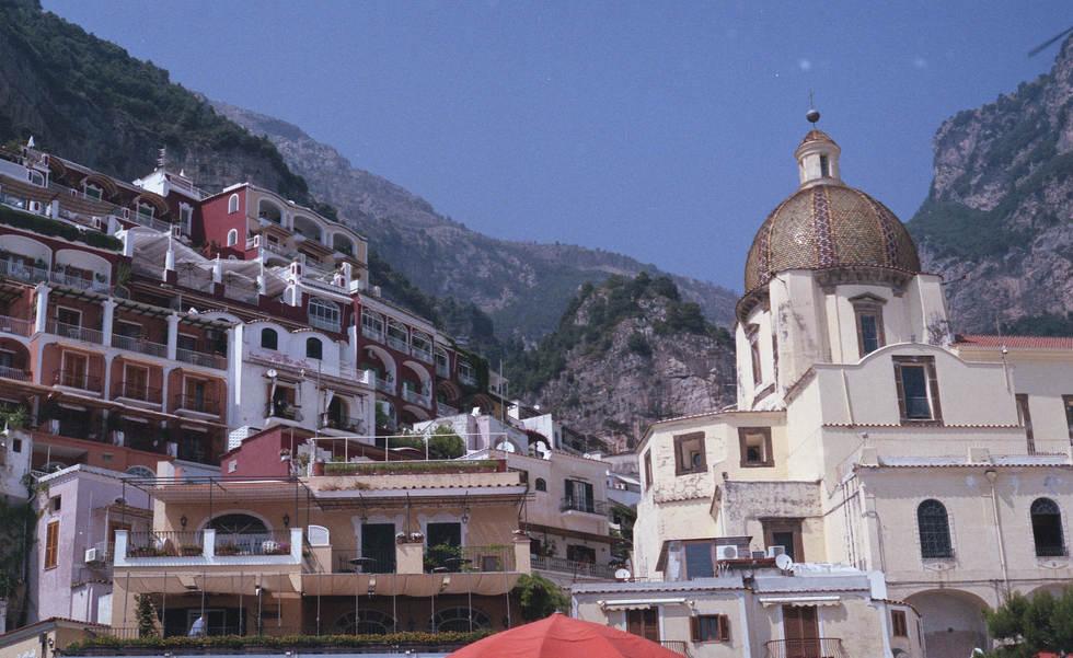 positano italy mountains church beach film 35mm film