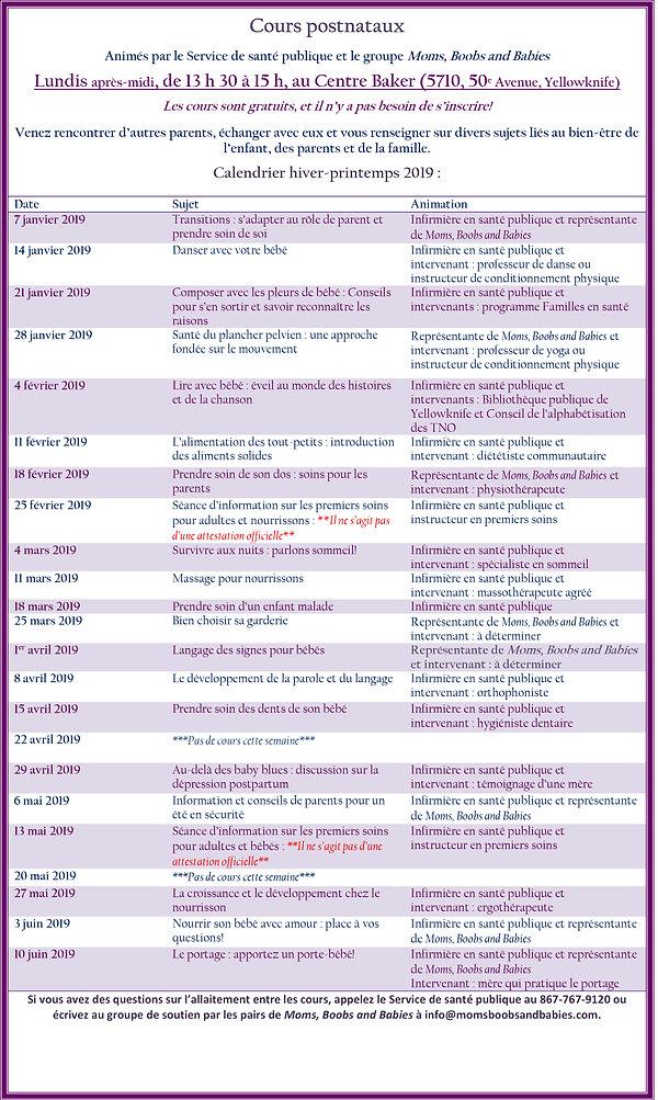 Postnatal schedule 2019 Winter (french).
