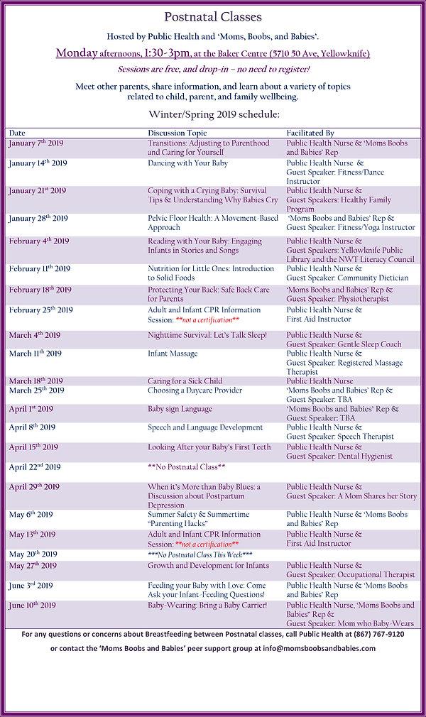 Winter Postnatal Schedule 2019 English W