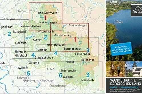 Wanderkarte Bergisches Land Blatt 1 Norden/Osten