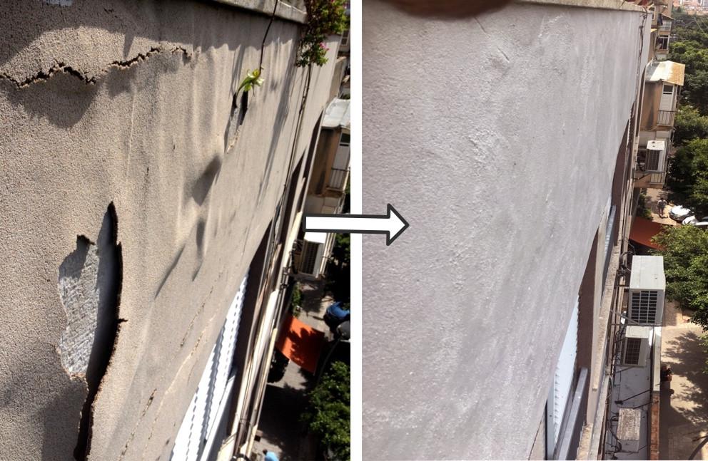 שיפוץ וצביעת קיר חזיתי בסנפלינג