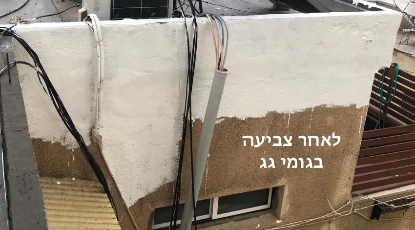 צביעת קיר חוץ בגומי גג
