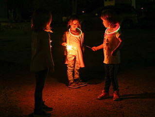 KIDS HAVING FUN  Cool nights bring campfires and fun for the kids