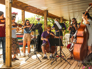 LIVE PERFORMANCE       The Whispering River Orchestra from Parry Sound, played for us on the deck an