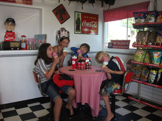 IT'S A HOT ONE OUT THERE, be like this group and stop in for an ice cream on a hand rolled waffl