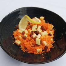 Salade carottes rapées, pomme, raisins secs