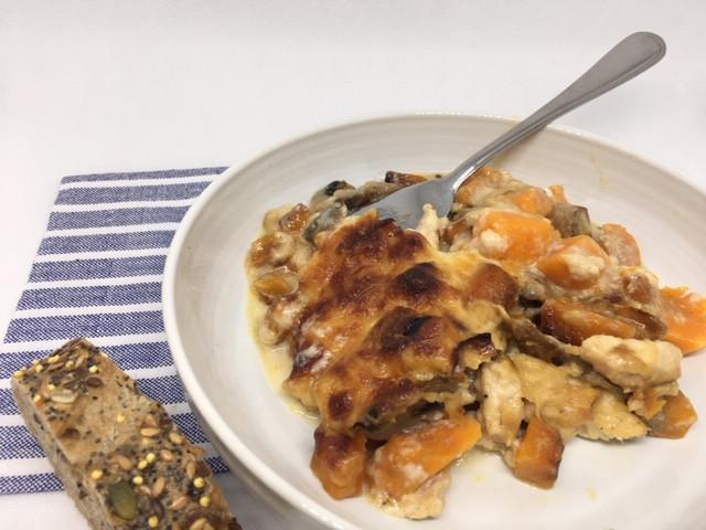 Gratin butternut, patates douces, poulet, champignons
