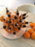 Brochettes clémentines - raisins noirs