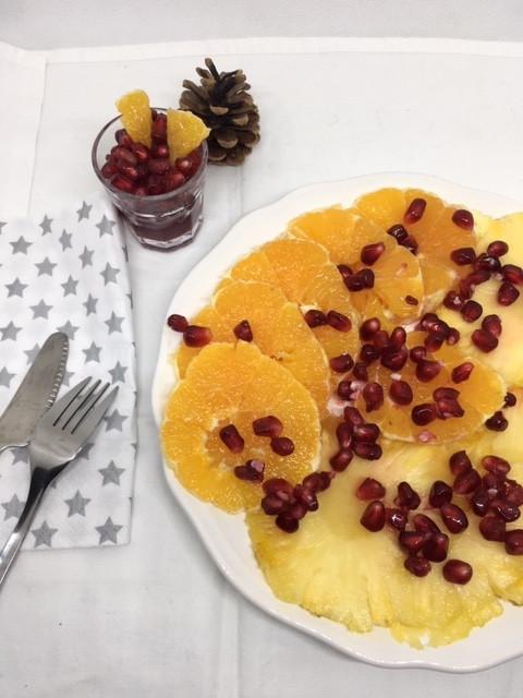 Carpaccio orange, ananas, grenade