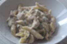 Pennes poulet courgettes a romarin