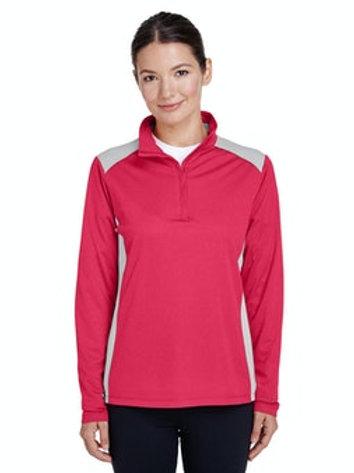 Women's Excel Interlock Performance Quarterzip Top (Sport Red Heather)