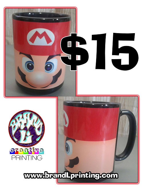 """Super Mario Face"" black ceramic mug (15 oz)"