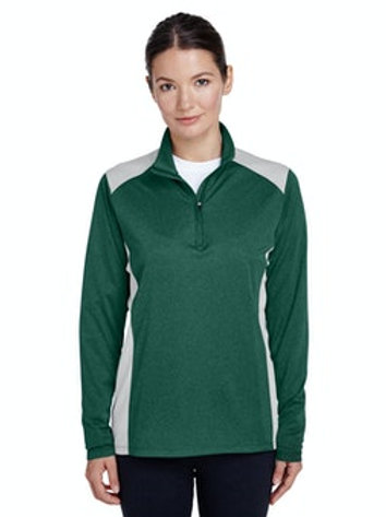 Women's Excel Interlock Performance Quarterzip Top (Sport Forest Heather)