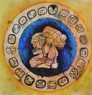 Tzolk'in Old and New Glyphs,  Watercolor & Ink, 2020