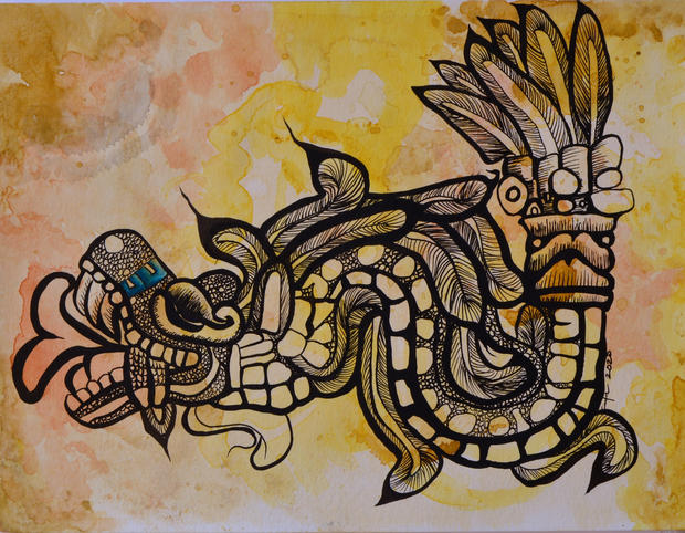 Feathered Serpent, Watercolor & Ink, 2020