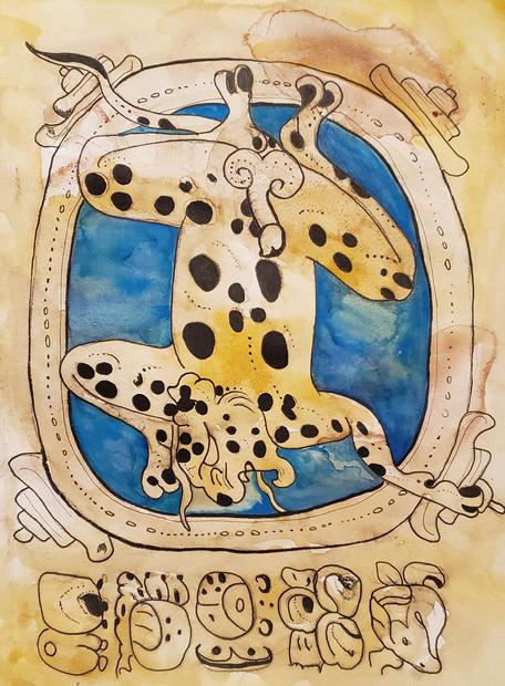 Pool Jaguar, Wayeb, Watercolor & Ink, 2020