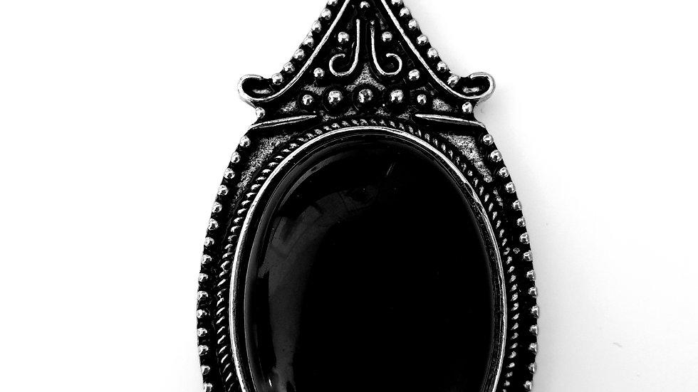 Oval Antique Silver Zinc Alloy Natural Black Agate Big Pendant Necklace