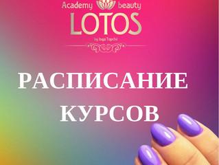 Расписание курсов Академии Лотос.