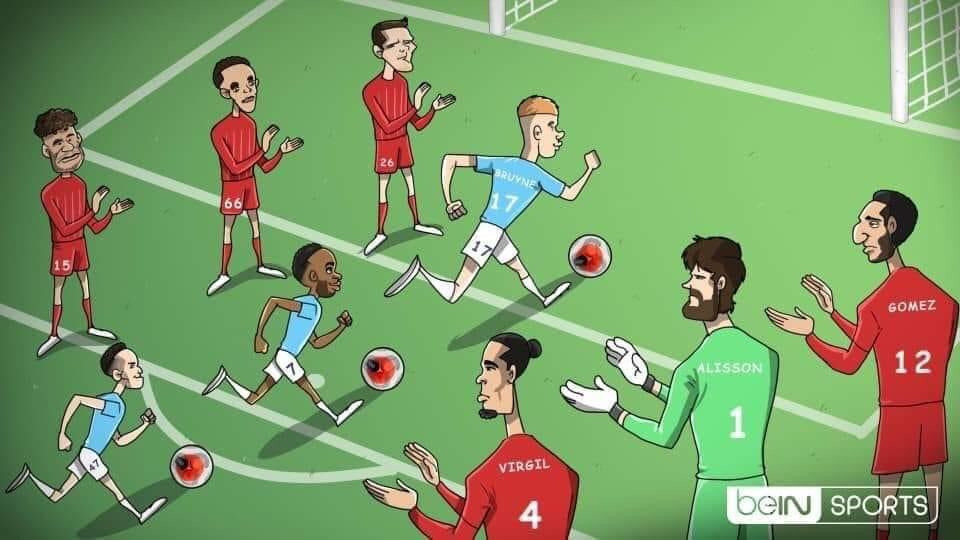 City Player's score past the Guard of Honours of Liverpool's Defence - Credits - BeIn Sports