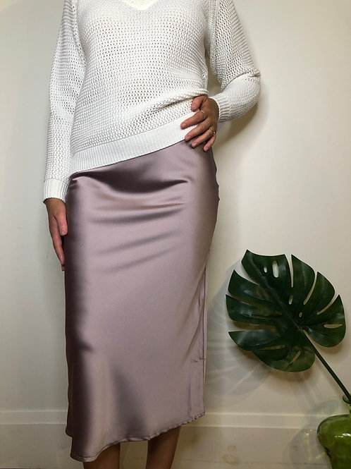 C'est Moi CES5100 Satin Plum Skirt