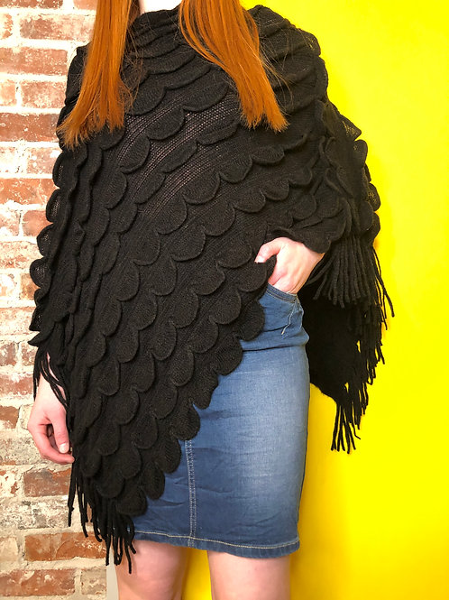 Cream Quinn Poncho Black