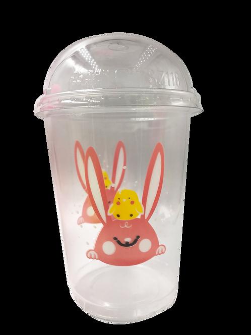 แก้วพลาสติก PP 32 ออนซ์ (ถัง) กระต่าย + ฝา