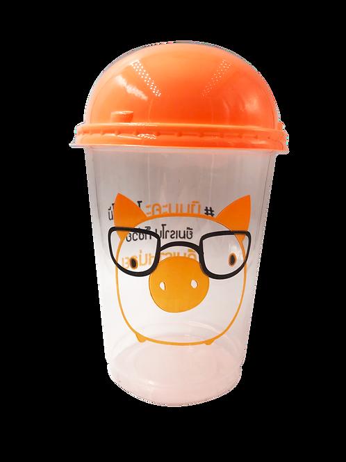 แก้วพลาสติก PP 32 ออนซ์ (ถัง) หมู + ฝาสีส้ม