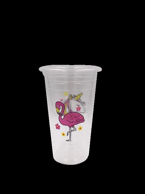 แก้วพลาสติก PP 22 ออนซ์ ปาก 95 เรียบลาย ฟลามิงโก้/ยูนิคอร์น